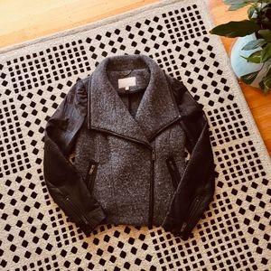BANANA REPUBLIC wool leather moto jacket - S